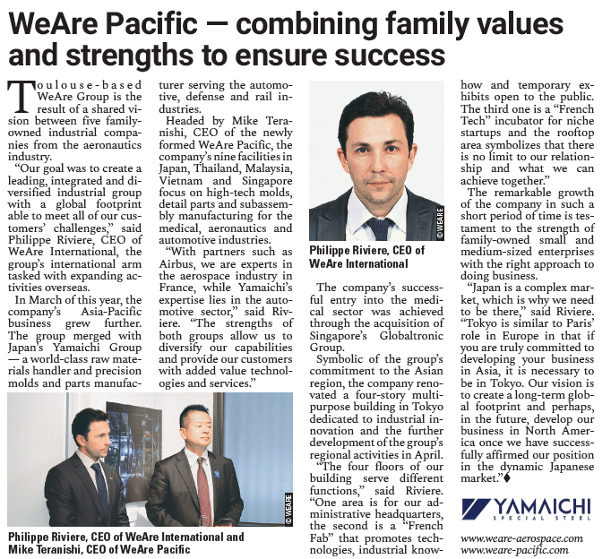 article de presse the japan times WeAre Group et WeAre Pacific